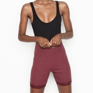 Lace-trim Ribbed Bike Short